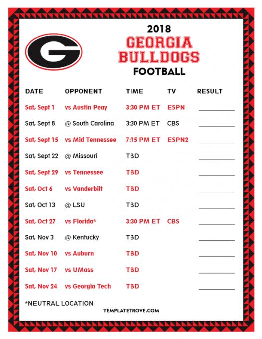 Georgia Bulldogs Football Game at Sanford Stadium
